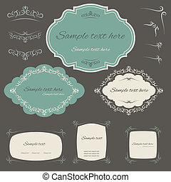 calligraphic design elements and page decoration, set
