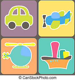 seamless pattern with cartoon transport