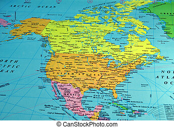 North America map, includes names of many cities and...
