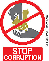 stop corruption sign (stop corruption symbol, hand giving...