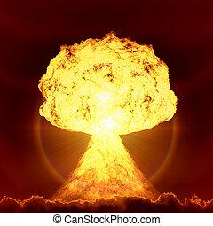 nuclear, bomba, explosión