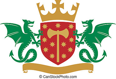 coat of arms - dragons, shield, crown and banner