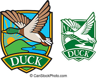 mallard duck flying emblem bird duck, flying duck, hunting...