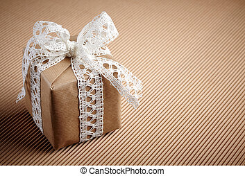gift box on brown carton background