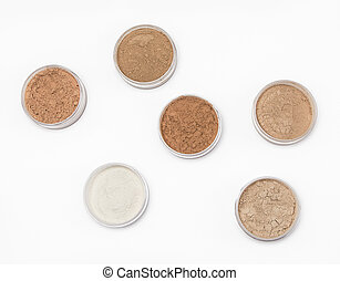 Loose cosmetic powder in jars - Jars filled with loose...