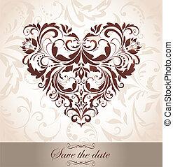 Vintage floral heart shape