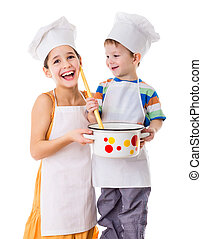 Two kids with pan and big ladle - Two smiling kids with pan...