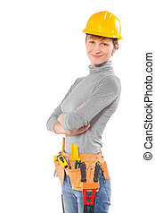 female worker wearing working clothes with tools isolated on...