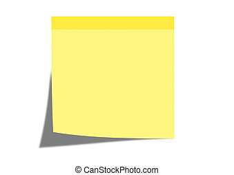 sticky note - A yellow stick note with a white background.