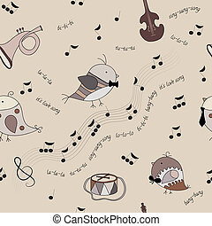 birds, musical instruments, notes, song