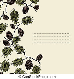 frame for text with fir cone and twig - background frame for...