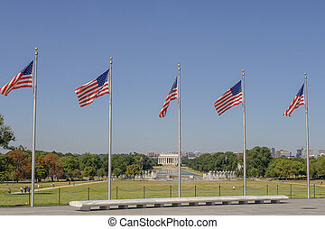 Lincoln memorial and flags - Lincoln Memorial in Washington...