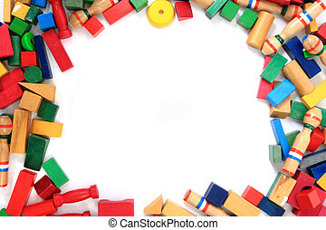 wooden bricks(toys) as frame