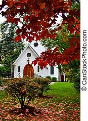 Little White Chapel - little white chapel church behind the...