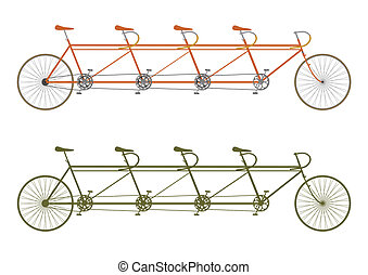 Tandem - Silhouette of a vintage four seater tandem bike