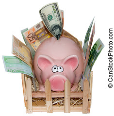 Piggy bank on a white background
