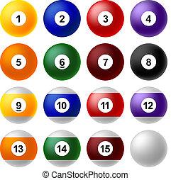 Billiard ball set - Set of billiard balls.