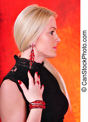 Elegant fashionable woman with jewe