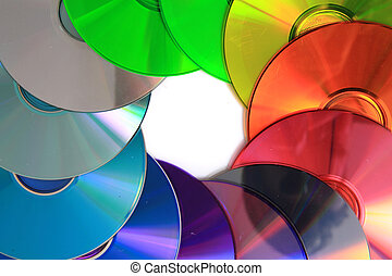 colorrainbow CD and DVD media isolated on the white...