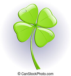 Four leaf clover Vector illustration St Patricks day symbol...