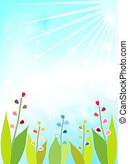 Leaves blue bokeh. Spring background. - Leaves blue bokeh....
