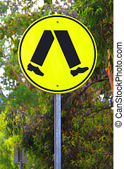 Yellow Reflective Pedestrian Crossing Sign - Current Australian Road Sign