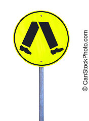 Yellow Reflective Pedestrian Crossing Sign - Current Australian Road Sign. Isolated on White