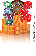 city casino - illustration of city with objects casino