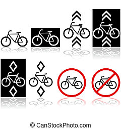 Bicycle signs - Set with different bicycle signs and icons