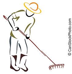 Working at farm - Farmer with garden rake on white