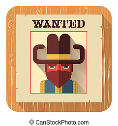 Wanted poster iconVector flat style - Wanted poster with...
