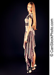 stunning woman - Full length portrait of a fashionable model...