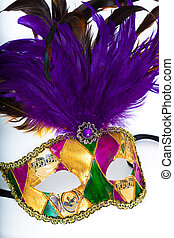 A colorful mardi gras or venetian mask on a white background...