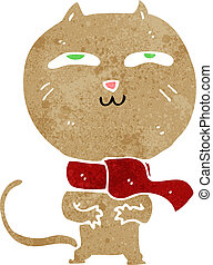 cartoon funny cat wearing scarf