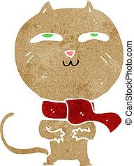 cartoon funny cat wearing scarf