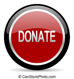 donate icon - red glossy web button on white background