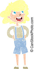 cartoon woma in dungarees