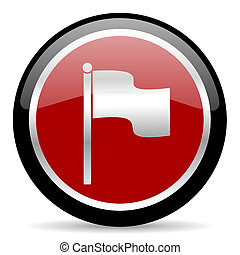flag icon - red glossy web button on white background