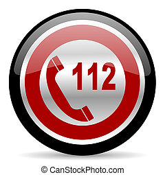 emergency call icon - red glossy web button on white...