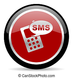 sms icon - red glossy web button on white background