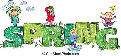 Kids on the letters spring. Contains transparent objects....