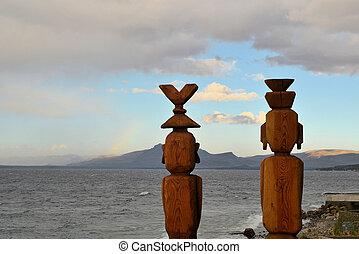 Two statues, Nahuel Huapi Lake, Patagonia - Two statues...