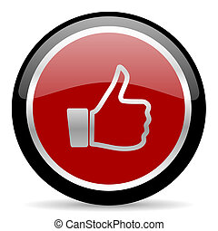like icon - red glossy web button on white background