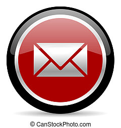 mail icon - red glossy web button on white background