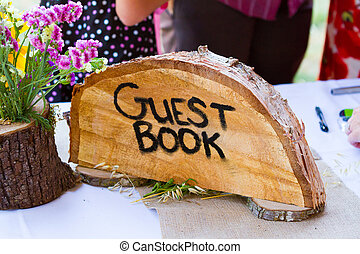 Crosscut Tree Guest Book Sign - Guestbook sign is made from...