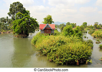House on one of 4000 islands in the Mekong - A house on...