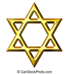 3D Golden Star of David - 3d golden star of david isolated...
