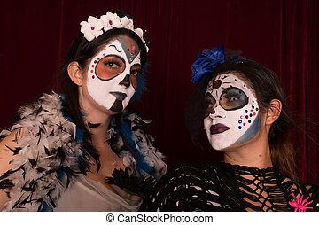 Day of The Dead Friends - Two female friends in Day of The...