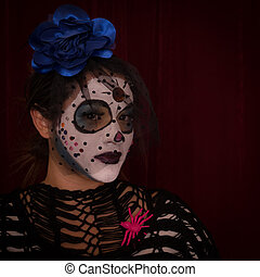 Day of The Dead Female in traditional Mexican costume,...