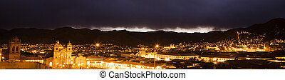 Cusco night - Panoramic night view of city of Cusco, Peru